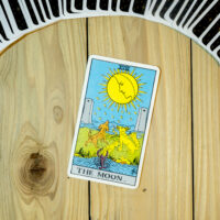 Deck of Tarot cards ; THE MOON .