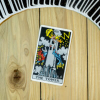 Deck of Tarot cards ; THE TOWER .